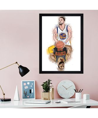 """CURRY & LEBRON """"Textured Paper (Scratch/Dust) Proof Framed Art Print"""
