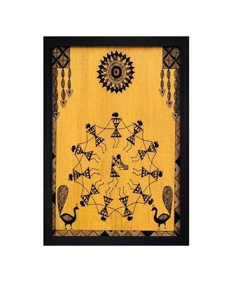 "WARLI ART HUMAN FIGURINE""Textured Paper (Scratch/Dust) Proof Framed Art Print"