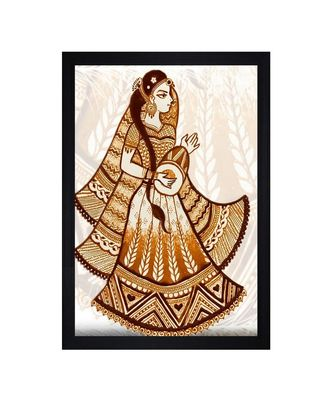"""Traditional Bride With Dholki""""Textured Paper (Scratch/Dust) Proof Framed Art Print"""
