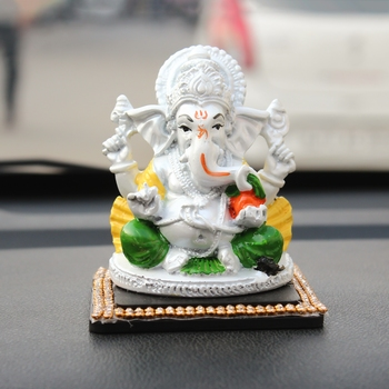 Decorative Lord Ganesha Showpiece for Car Dashboard, Home Temple and Office Desks