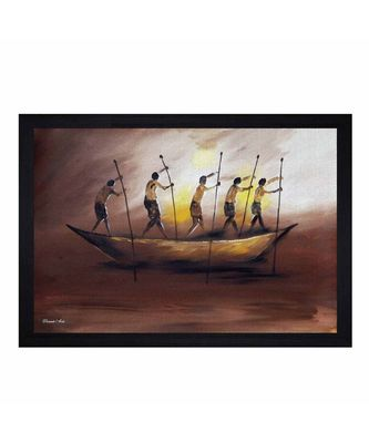"""Abstract Boat and Fishermen"""" Textured Paper (Scratch/Dust) Proof Framed Art Print"""
