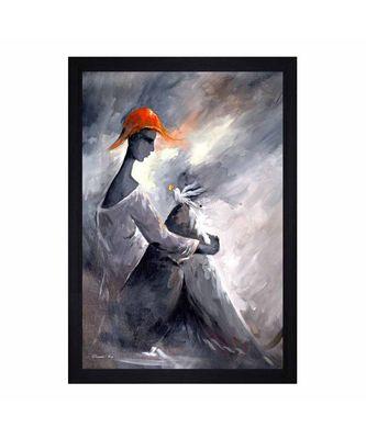 "Abstract Man and Bird"" Textured Paper (Scratch/Dust) Proof Framed Art Print"