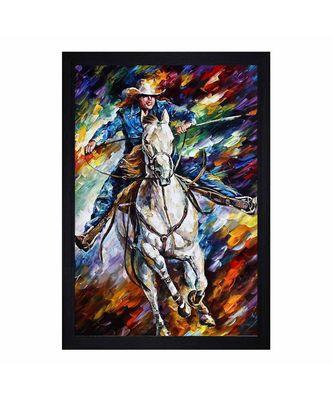 "People Horseriding Art"" Textured Paper (Scratch/Dust) Proof Framed Art Print"