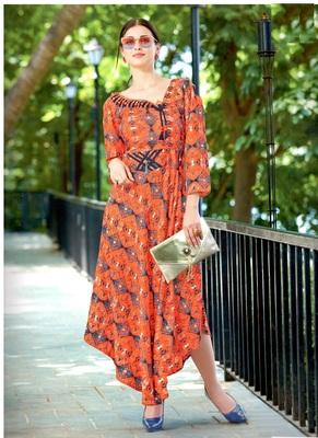 peach rayon block print embroidered  partywear Kurti Dress