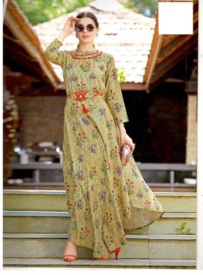 beige rayon block print embroidered  partywear Kurti Dress