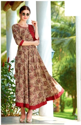 Brown Rayon Block Print Embroidered  Partywear Kurti Dress