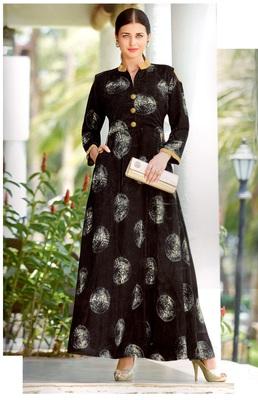 black rayon block print embroidered  partywear Kurti Dress