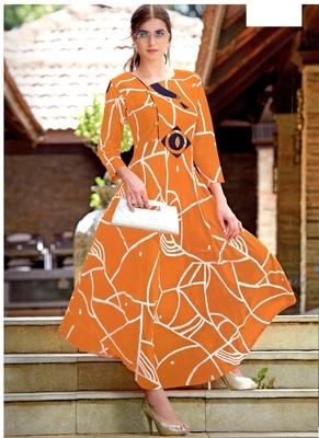 orange rayon block print embroidered  partywear Kurti Dress