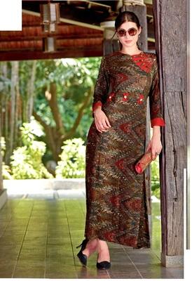 Brown Rayon Block Print Embroidered  Partywear Kurti Dress