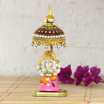 Decorative Lord Ganesha Showpiece with Chatri for Car Dashboard, Home Temple and Office Desks