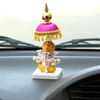 Lord Ganesha Idol with Chatri for Car Dashboard