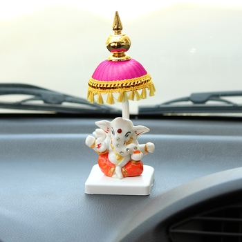 Lord Ganesha Idol with Chatri for Car Dashboard