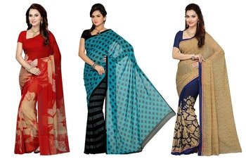 Combo Of 3 Poly Georgette Multicolor Printed Women's Saree