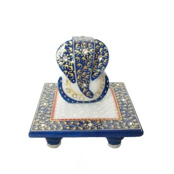 Lord Ganesha on Blue Marble Chowki