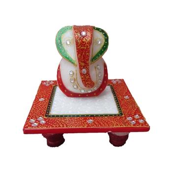 Lord Ganesha on Red Marble Chowki