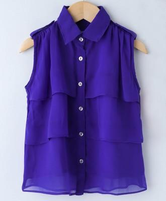 Royal Trendy Girls Sleeveless Georgette Layered Shirt