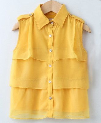 Yellow Trendy Girls Sleeveless Georgette Layered Shirt