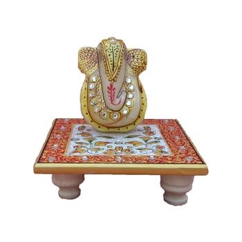 Lord Ganesha on Floral Chowki