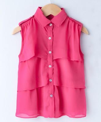 Pink Trendy Girls Sleeveless Georgette Layered Shirt