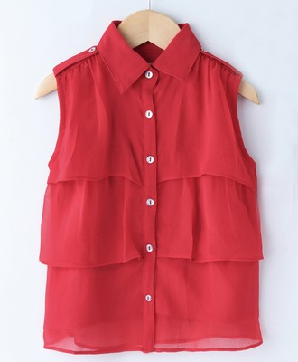 Red Trendy Girls Sleeveless Georgette Layered Shirt