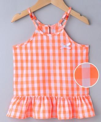 Orange Breezy Checks Strappy With Beads