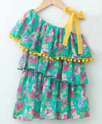 Aqua Pretty Layered Printed Georgette Dress