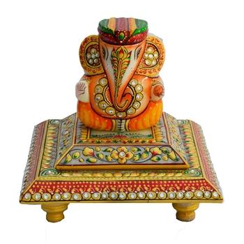 Marble Lord Ganesha with Turban on Chowki