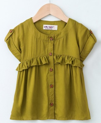 Green Trendy Rayon Top with Ruffle and Fancy Buttons