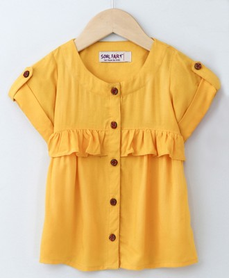 Yellow Trendy Rayon Top with Ruffle and Fancy Buttons