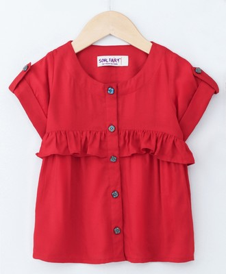 Red Trendy Rayon Top with Ruffle and Fancy Buttons
