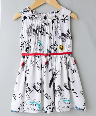 Off White Trendy Comic Printed Dress with Belt
