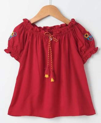 Royal Trendy Girls Rayon Peasant Top with Emb at sleeve + Tassles