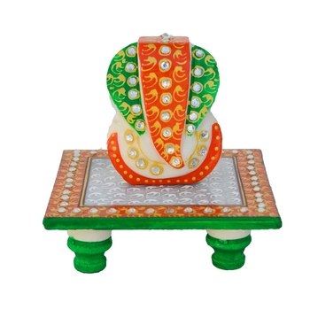 Charismatic Lord Ganesha Marble Chowki