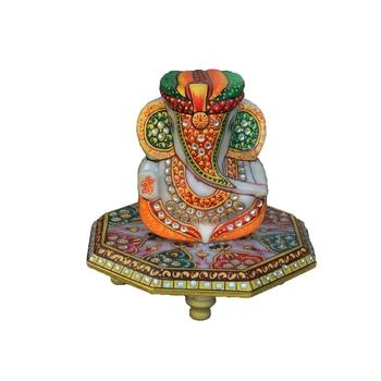 Paghadi Lord Ganesha on Hexagonal Marble Chowki
