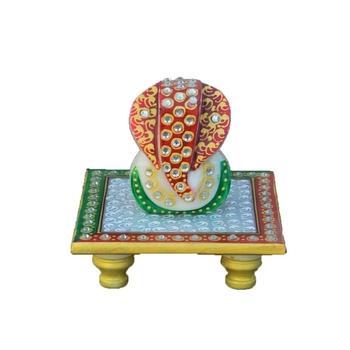 White Crystal Lord Ganesha on Red & Green Marble Chowki