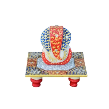 Lord Ganesha on Red & Blue Abstract Marble Chowki