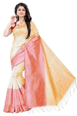 Light yellow plain cotton silk saree with blouse