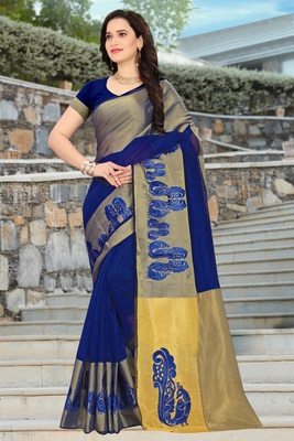 Navy blue embroidered cotton saree with blouse