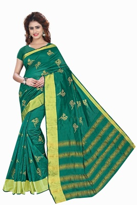 Teal printed cotton silk saree with blouse