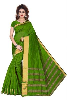 Dark green printed cotton silk saree with blouse