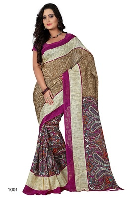 Multicolor brasso jacquard saree with blouse