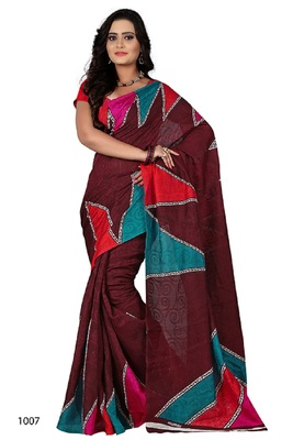 Wine brasso jacquard saree with blouse