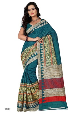Teal brasso jacquard saree with blouse