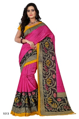Pink brasso jacquard saree with blouse