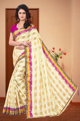 Off white printed organza saree with blouse