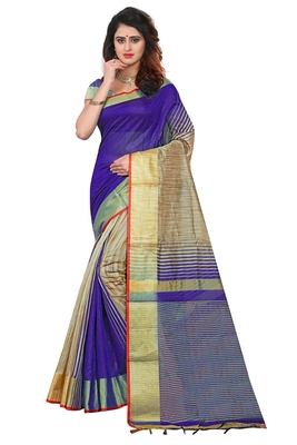Royal blue printed cotton silk saree with blouse