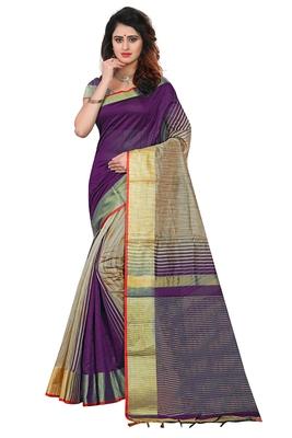 Dark purple printed cotton silk saree with blouse