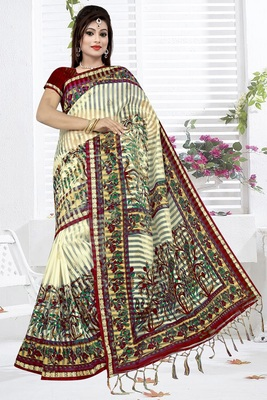 Off white printed cotton silk saree with blouse