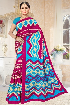 Dark magenta printed art silk saree with blouse