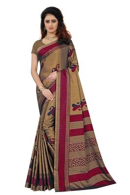 Dark brown printed art silk saree with blouse